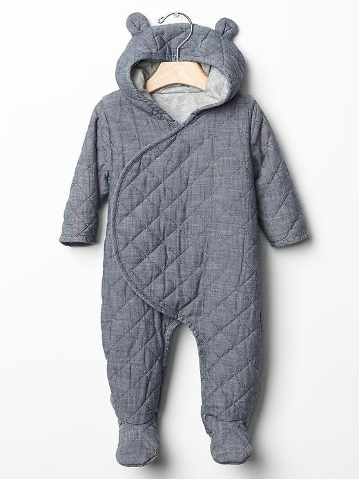 If you're bringing baby home in the Winter, this Baby Gap Quilted Chambray One-Piece ($40) will keep them s...