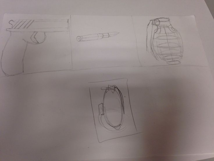 We zien hier een pistool, een kogel, en een granaat. Ik heb deze les 3 tekeningen gemaakt voor mijn tekening. Het schetsen ervan ging goed, en er ging niet echt iets minder goed. Ik heb voor deze 3 tekeningen gekozen, omdat ik veel van wapens hou en er ook veel games met wapens.