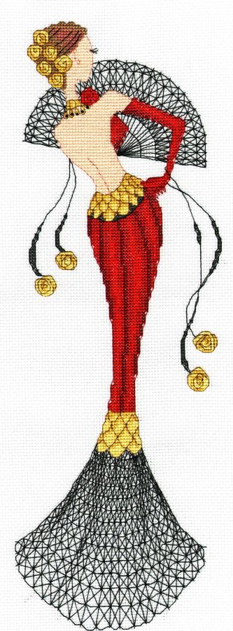 0 point de croix -femme en robe de soirée rouge & noire cross-stitch woman in black & red evening dress