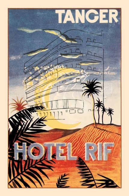 """""""Vintage Art Hotel Rif Tanger"""" by KKEN Art & Design, Cary //  // Imagekind.com -- Buy stunning, museum-quality fine art prints, framed prints, and canvas prints directly from independent working artists and photographers."""