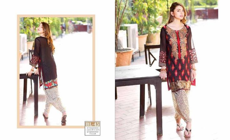 #Womens #Fashion #Pakistani #Designer #Suits #Haute #Couture for #work - #Red #Shirt #Brown #Bottom #Embroidered #premium #lawn #Kurtis