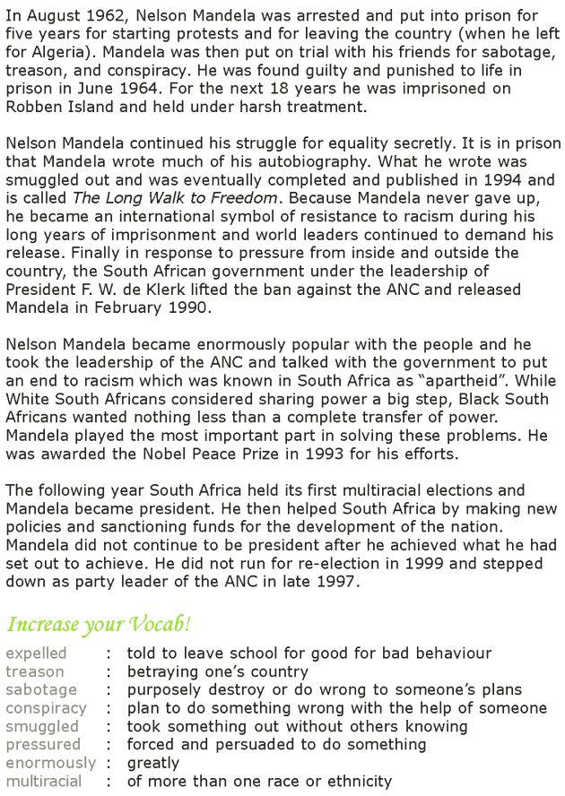 Grade 7 Reading Lesson 14 Biographies Nelson Mandela 2