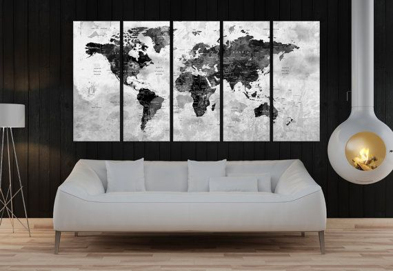 Push Pin travel world map wall art canvas print world map