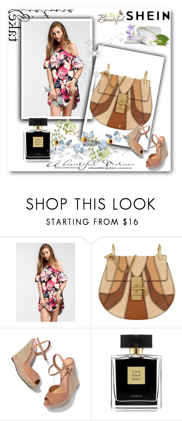 """shein"" by amra-ribic ❤ liked on Polyvore featuring Chloé, Schutz, Avon and Wall Pops!"