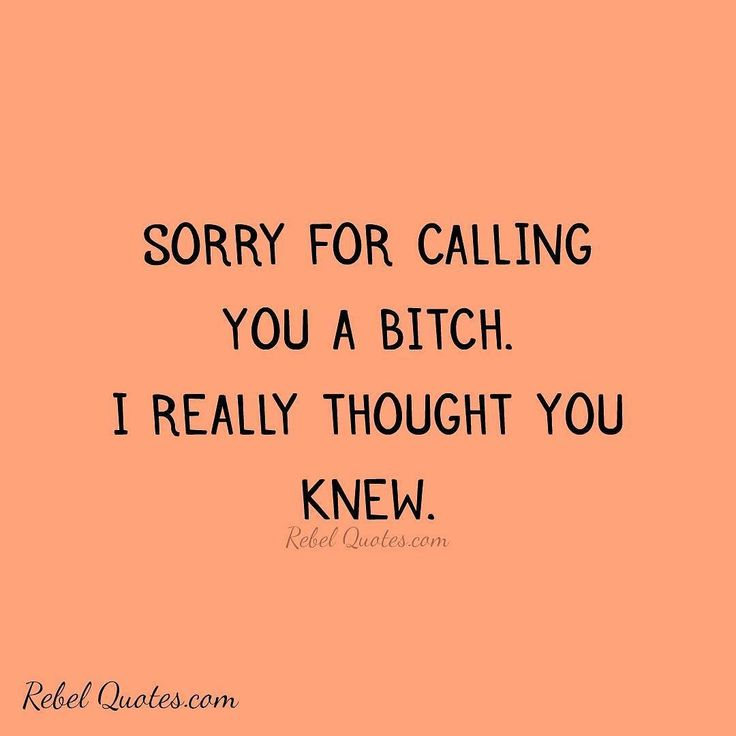 Sorry for calling you a bitch. I really thought you knew. #rebel #rebels