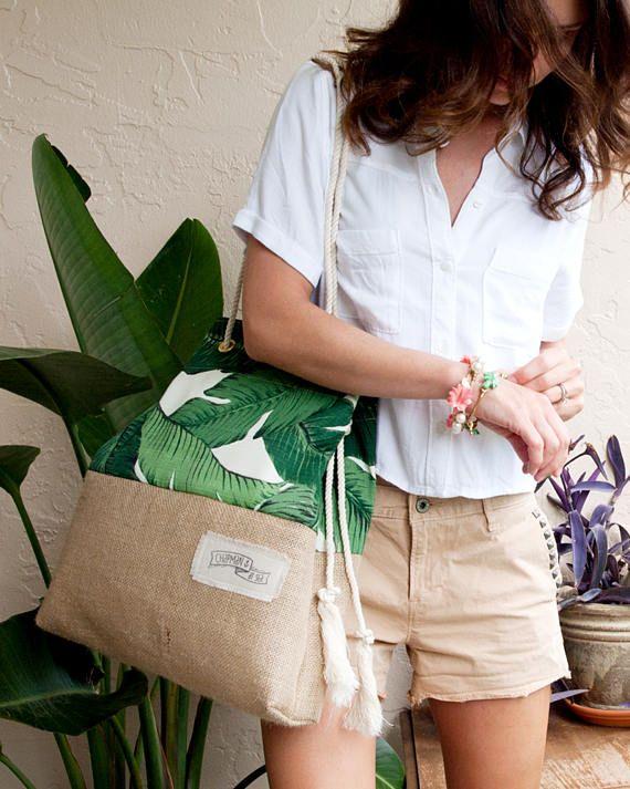 Bolsa de arpillera de impresión Palm Beach arena en yute de