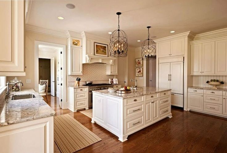 move wall into dinning room  move entry from garage make an office/mudroom from smaller dinning room  Carolina Design Associates - kitchens - Sherwin Williams - Antique White - white cabinets, white cabinetry, white kitchen cabinets, white ki...