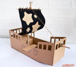 Thrifty Cardboard Pirate Ship- decorate any way you want!