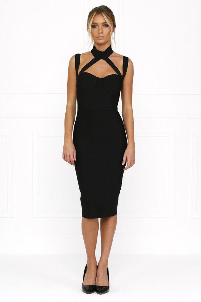Honey Couture - Nina Black Halter Bustier Bandage Dress