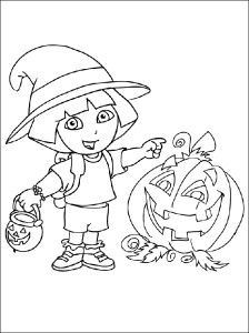 coloring pages dora halloween book - photo#10