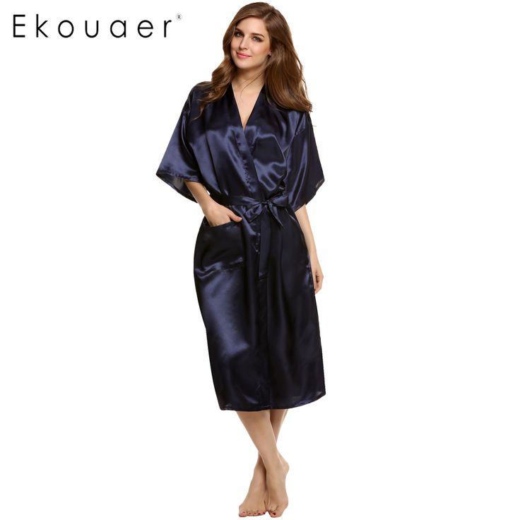 Ekouaer sklepu 2016 stylowe kobiety nocna szaty piżamy długa noc sukienka suknia robe z pasem jedwabne piżamy
