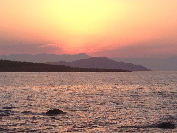 Crete, sunset from Golden beach