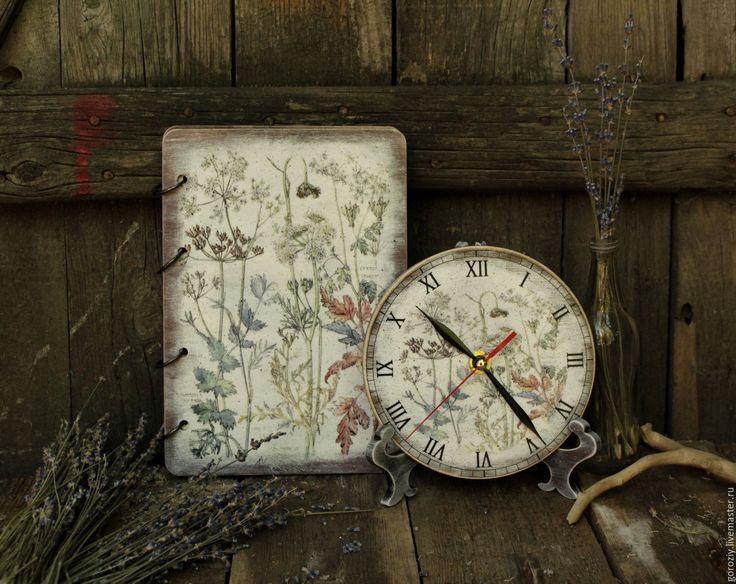 """Купить Часы и блокнот """"Ботаника"""" - серый, блокнот, часы, набор, набор для кухни, кухонные часы"""