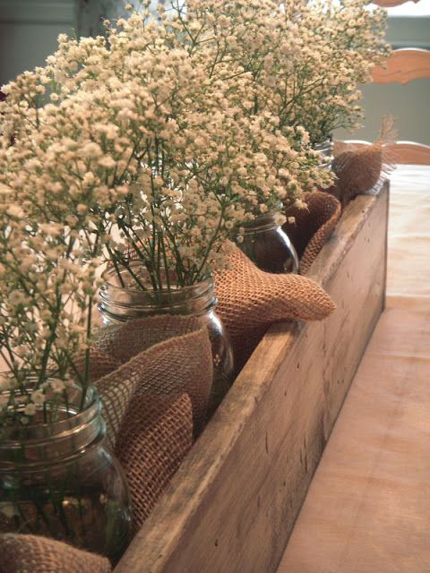 Burlap & Baby's Breath are a great way to save money and have fresh cut flowers at your wedding/event.: Babies Breath, Woods Boxes, Baby Breath, Wooden Boxes, Fresh Flower, Centerpieces, Wooden Crates, Mason Jars, Dawn Design