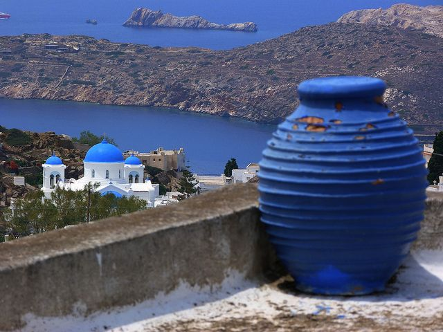 Scenery and blue pot, Chora, Ios island, Cyclades, Greece   Flickr - Photo Sharing!