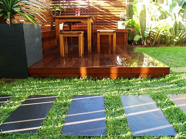 love the combination of the decking, pavers and lawn by unitedlandscaping.com.au