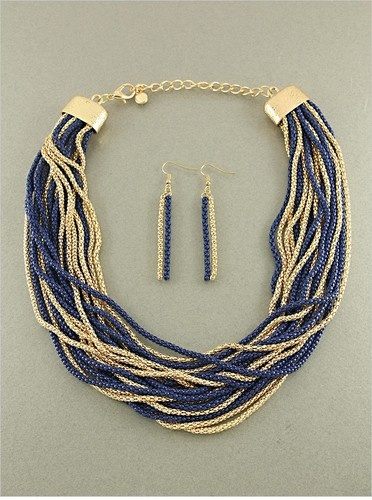 """CHUNKY BLUE GOLD MESH  METAL PENDANT CHAIN  17-20"""" BIB STATEMENT NECKLACE SET    ~Make with seed beads"""