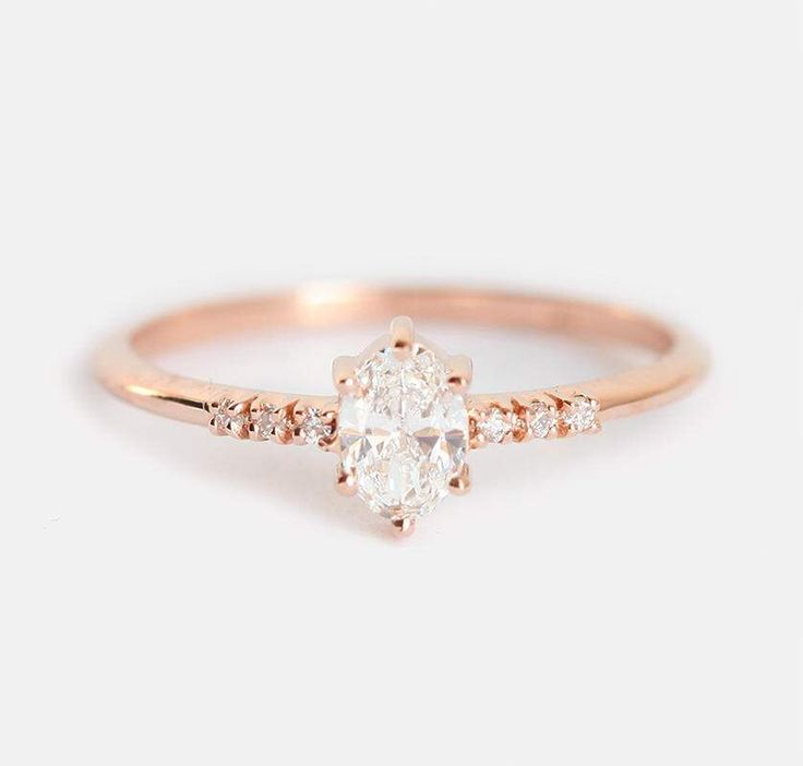 Diamond Ring, Diamond Engagement Ring, Oval Diamond Ring, Rose Gold Diamond Ring, Rose Gold Wedding Ring, Simple Diamond Ring by MinimalVS on Etsy https://www.etsy.com/listing/505019864/diamond-ring-diamond-engagement-ring
