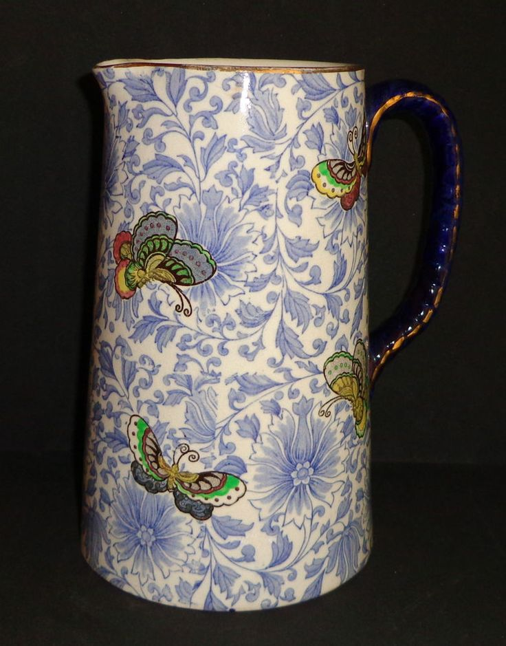 ANTIQUE ROYAL DOULTON PITCHER BLUE WHITE PORCELAIN BUTTERFLIES SERIES WARE 1916