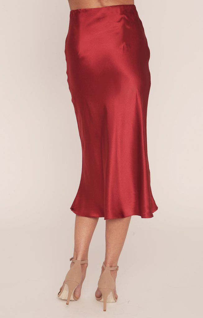Red A line satin midi maxi satin skirt