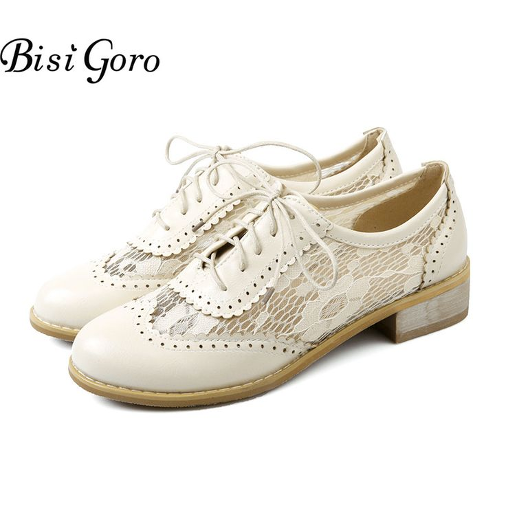 BISI GORO Women Shoes Medium Heel Shoes Lace Up Oxford Shoes Women zapatos mujer Spring Summer Casual Ladies Shoes Plus Size #Affiliate
