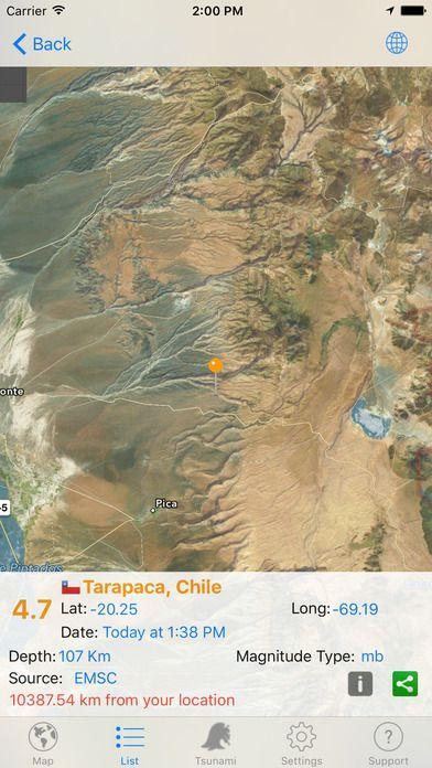 Quake Spotter Map List Widget and Alerts by Juan Ramon