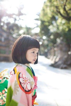 large flower pattern child kimono