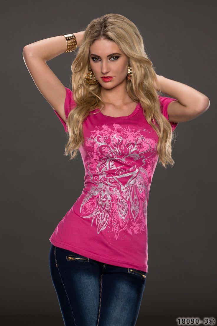 Roze shirt met print, felroze met korte mouwen