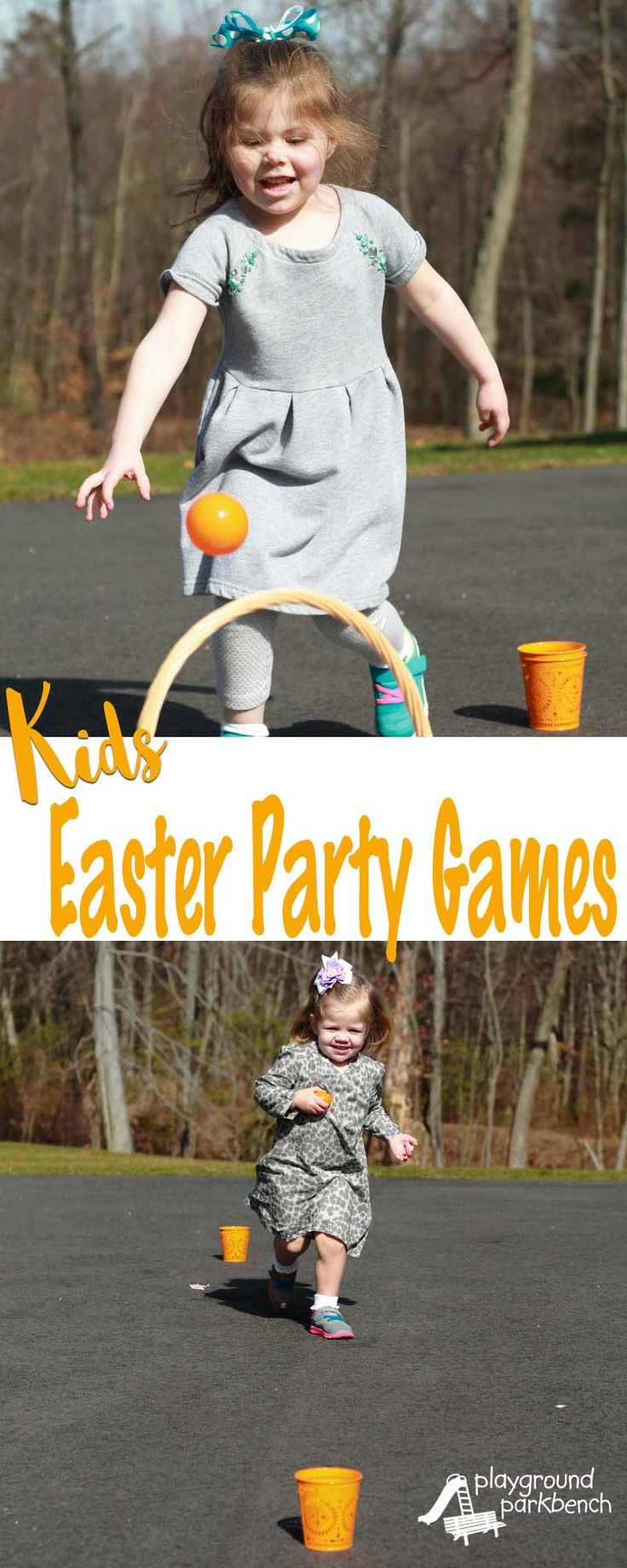 Need some party game ideas or gross motor challenges for your child's Easter Party?  These Kids Easter Party Games are sure to get your toddler or preschooler moving, and burn off all their chocolate bunny sugar high!  Great for preschool parties or Easter Sunday after the egg hunt. | Easter | Easter Games | For Kids | Gross Motor Skills | Toddlers | Preschool