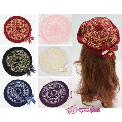 6 Colors Card Captor Sakura Magic Circle Beret Cap with Little Bow SP151781