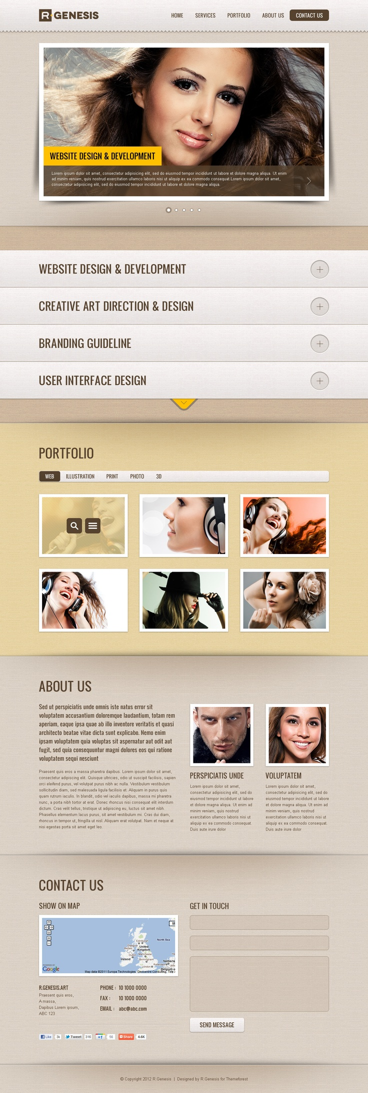"""""""R.Gen – Single Page Site Template"""" is a best for presenting content & portfolio. This package include UI sprite PSDs for easy to edit theme."""