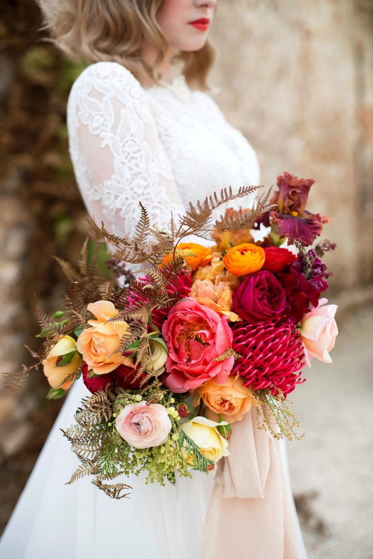 Styled Shoot for Love Cherish Adore, Photography by Bridget Quain. Homegrown, spring flowers, autumn colours, peonies, roses, bearded iris, dried bracken, red, orange, spring wedding, colourful