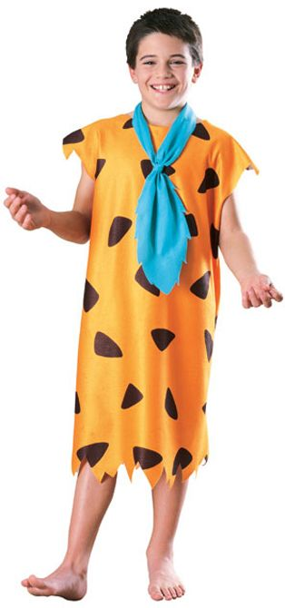 Fred Flintstone Licensed Boy's Costume - Yabba dabba doo. It's an officially licensed Fred Flintstone costume. This is a two-piece costume with a tunic and tie. The tunic goes down to around the knees and is sleeveless. It's soft orange fleece with black spots. The neckline is wide and there are jagged-trimmed cap sleeves. The hem of the tunic is cut to look torn. #flintstones #fred #calgary #yyc #costume #kids #children #tv #movie