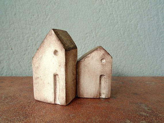 Miniature clay house, little rustic faux ceramic cottage house aged  gold metallic home decor sculpture figurine house brown white set of 2