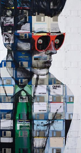Nick Gentry - stunning mixed media portraits incorporating discarded floppy disks.