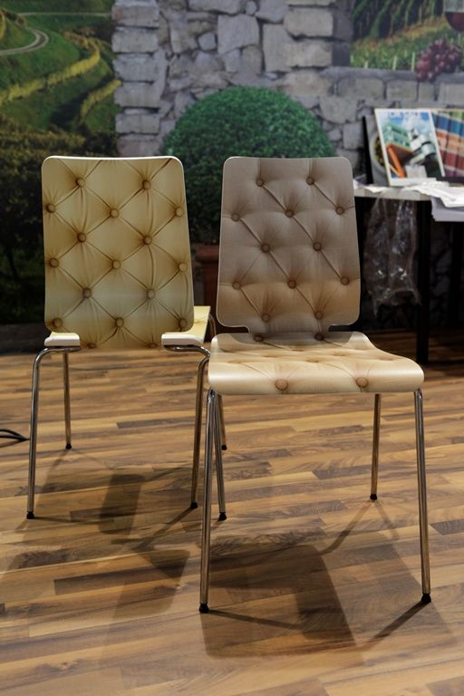 Chairs printed with HP Latex Technology. Digital Print & Sign 2012, Bucharest - Grup Transilvae booth #hplatex