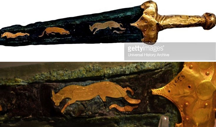 A gorgeous bronze Mycenaean dagger, ca. 15th century BC. which was discovered near Pylos (Getty Images). Below: a close-up of the gold that adorns this amazing artifact, which is on display at the Archaeological Museum in Athens.  #MilitaryHistory #Warfare #AncientGreece #Mycenae #Classics #Museums #BronzeAge