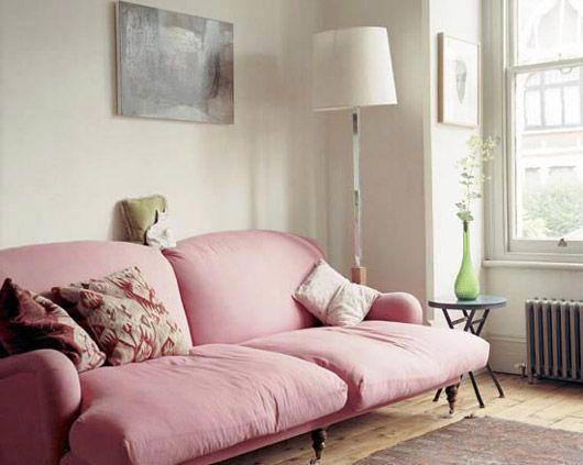 large pink sofa