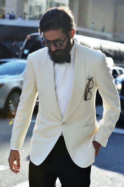 beard + cream jacket