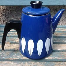 Vintage Catherine Holm blue Lotus enamel retro coffee / tea pot