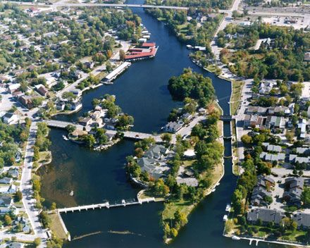Lock 32 - Bobcaygeon - One of the easier locks to manuever.  Miles and miles of canals like the one in the picture.