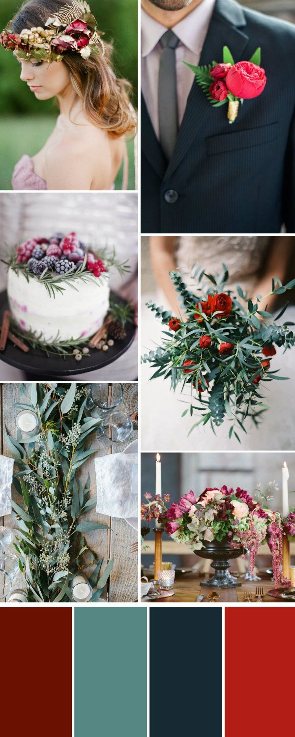 autumn wedding color palette with burgundy and olive green