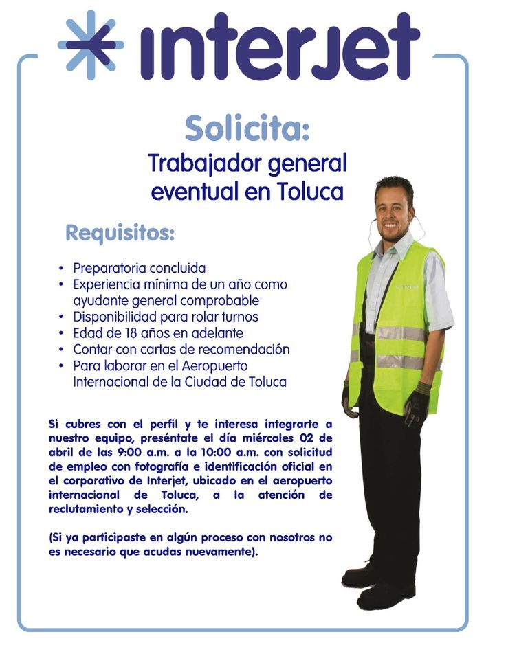 Vacantes interjet trabajador general eventual toluca for Oficinas de interjet