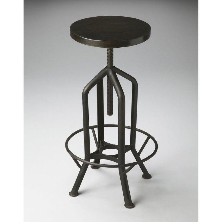 butler revolving black metal adjustable height backless bar stool bar stools at hayneedle