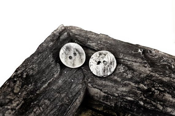 Metal Buttons 16mm Round Buttons 2 holes Antiqued Silver