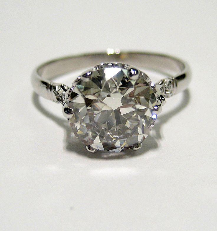2.43ct Antique Vintage OLD EUROPEAN ROUND Cut Diamond Ring. $12,895.00, via Etsy.
