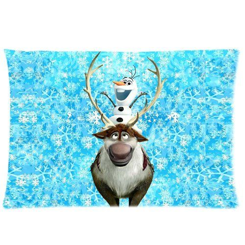 Frozen cute Olaf and caribou Sven two sides printed zippered rectangle bed decorative cotton ...