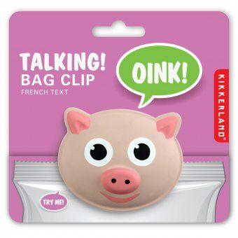 Kikkerland Talking Bag Clip Pig - funny, kitchen, design, pink
