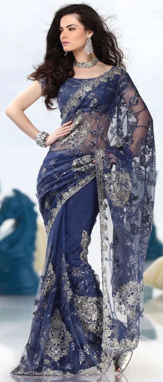 #Blue Net #Saree with Blouse