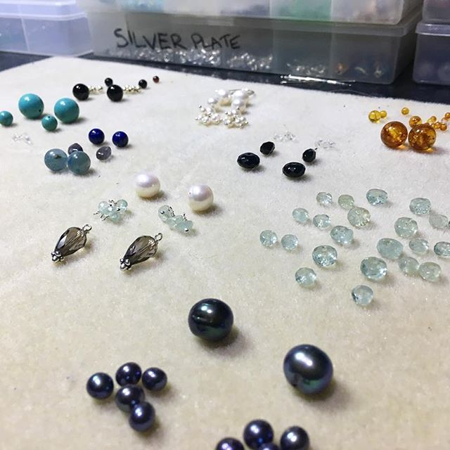 Some new earrings in the works this evening... loving working with these pretty gems!! 😍💎📿🔮#behindthescenes #gems #gemstones #beads #creative #earrings #pearl #aquamarine #turquoise #quartz #silver #jewelry #jewellery #bling #handmade #gypsy #bohemian #fashion #accessories #supportsmallbusiness #shopsmall #artisan #australia #melbourne #making #design #planning
